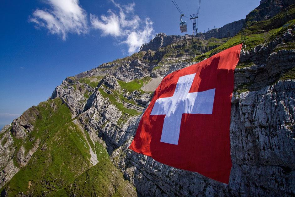 Schweiz Säntis Schweizerfahne