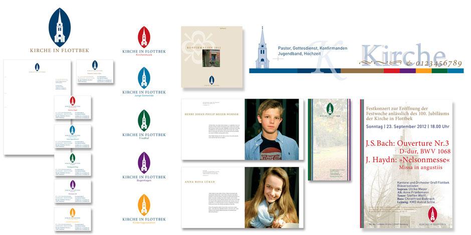 Kirche in Flottbek e.V. // Markenzeichen | Geschäftspapiere | Infoflyer | Poster | Konfirmandenbücher | Portraits