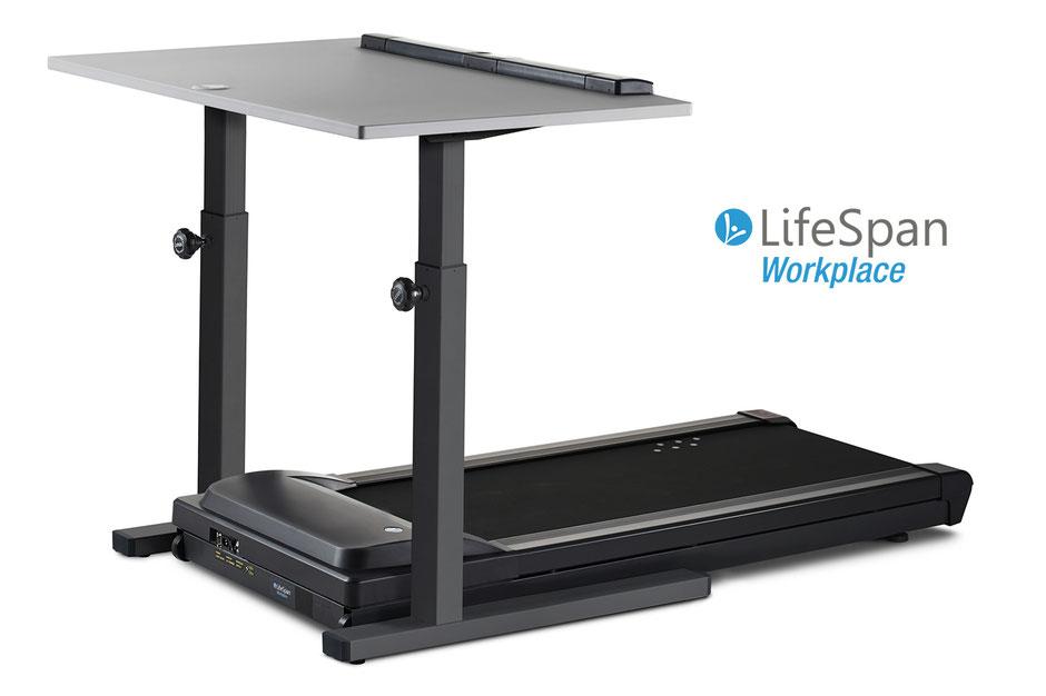 Eine Kombination aus Laufband und Schreibtisch Marke LifeSpan vor einem weißen Hintergrund - Rahmenfarbe Tisch Charcoal