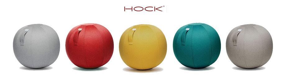 5 Sitzbälle in einer Reihe un 5 unterschiedlichen Farben vor weißem Hintergrund. Logo HOCK Design