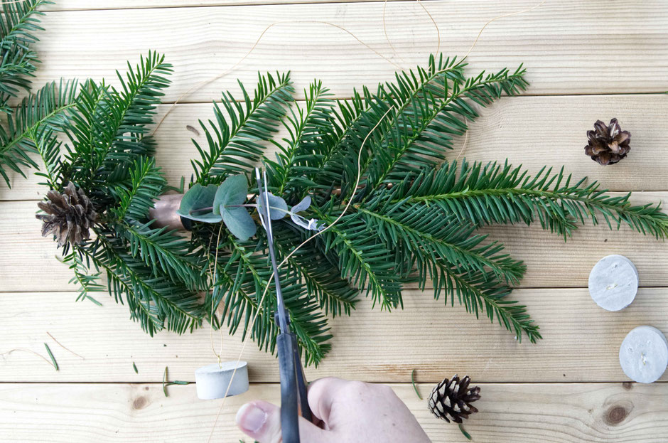 Geometric Wreath DIY Modern Winter Decor Tutorial With Concrete, Copper And Evergreens