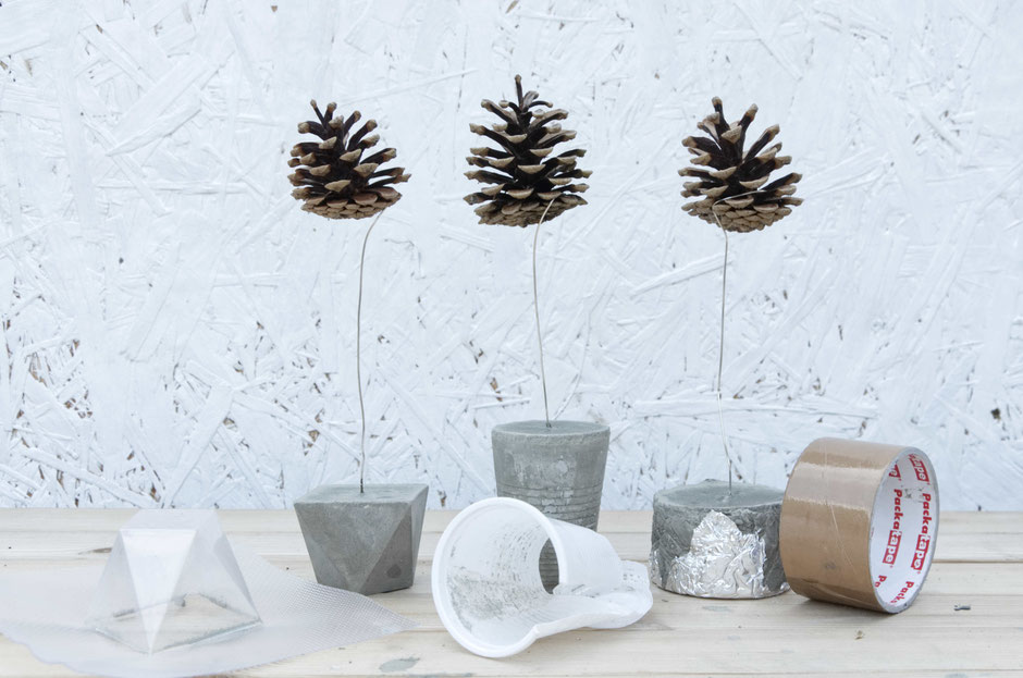 Floating pine cone DIY a PASiNGA tutorial featuring three different concrete base designs