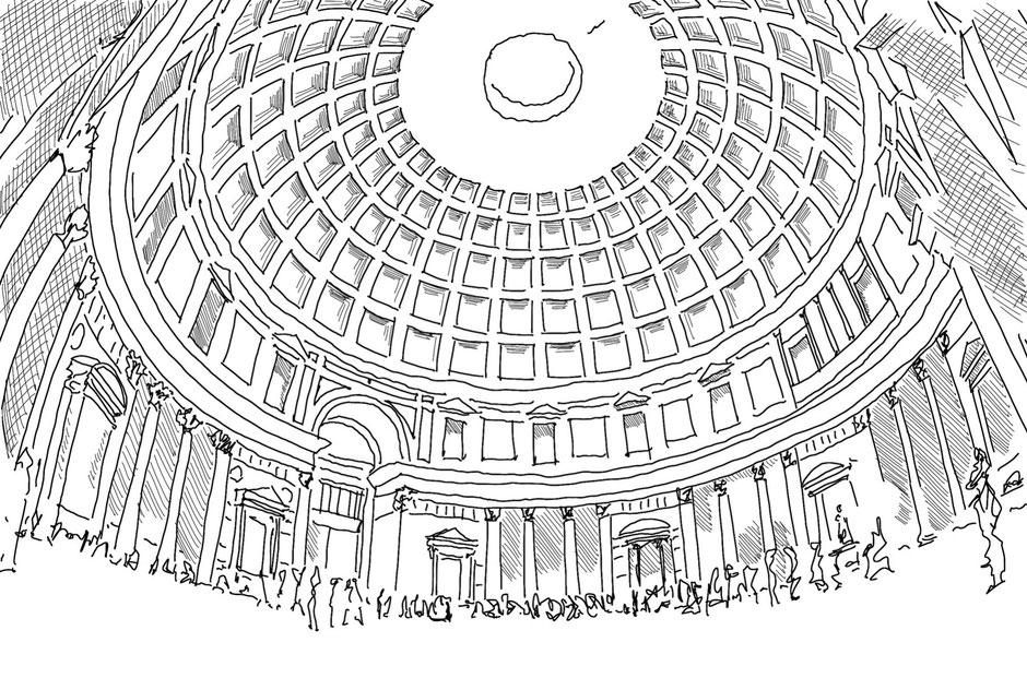 Pantheon in Rome, inside sketch by Heidi, for how concrete PASiNGA Blog