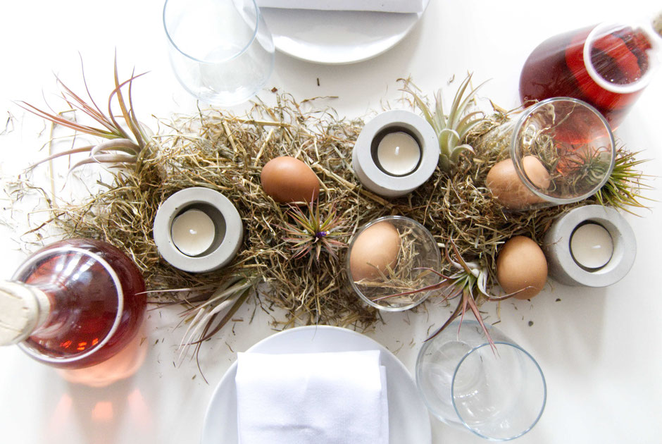 Easter Centrepiece Inspiration With Straw, Air Plants and Concrete By PASiNGA design