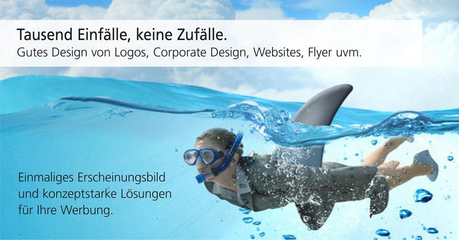 Corporate Design zeigt wie eine Frau im Meer schwimmt und die angehefteter Haifischflosse über dem Wasser zu sehen ist.