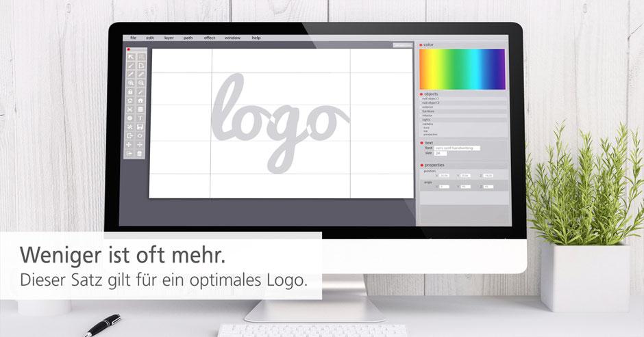 Der Computermonitor zeigt wie Logo design heute am Computer gestaltet wird.