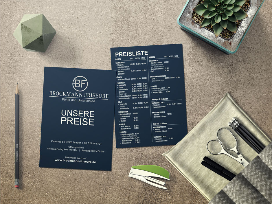 Preisliste als Teil des Corporate Design der Friseure Brockmann.