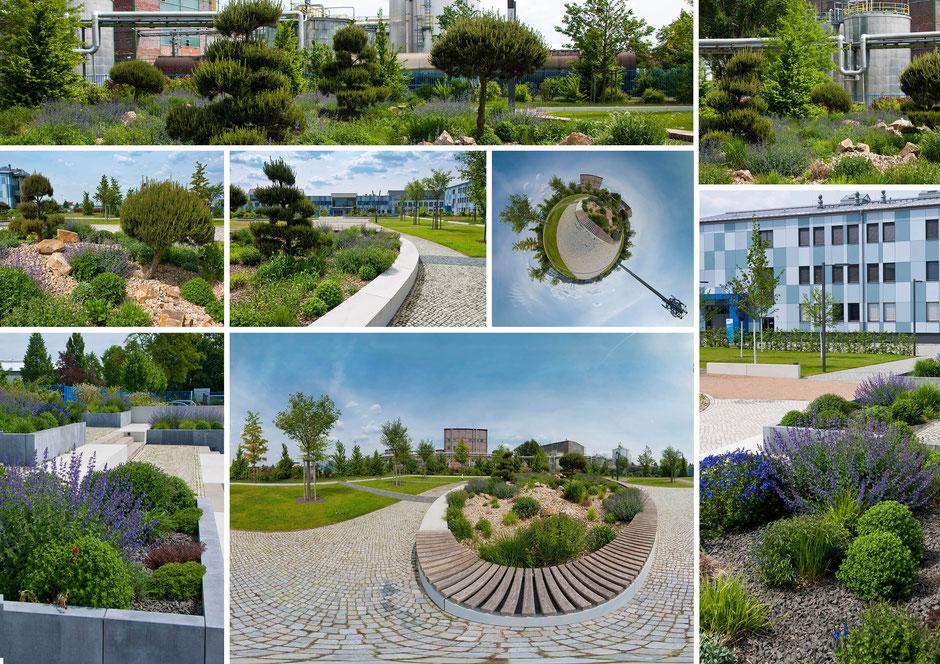 Fotomontage, Gartenanlage Firmengelände Wittenberg