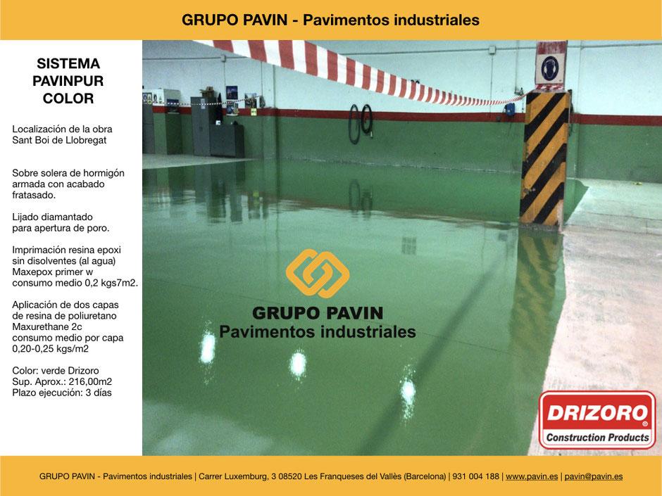 GRUPO PAVIN - Pavimentos industriales | Sistema Pavinpur color con Drizoro | Color: verde Drizoro - Sup. Aprox.: 216,00m2  - Plazo ejecución: 3 días
