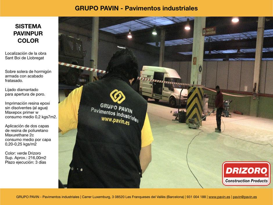 GRUPO PAVIN - Pavimentos industriales | Sistema Pavinpur color con Drizoro | Lijado y aspiración industrial con diamante