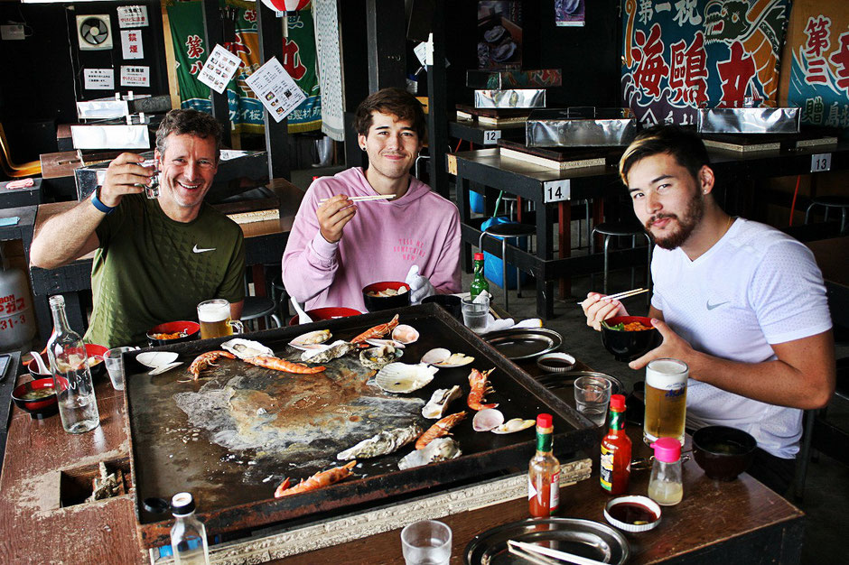 bike-tours-japan-seafood-barbecue