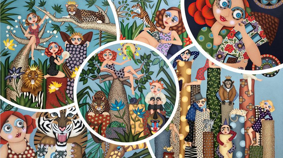 Tableaux artiste peintre Nantes, art naïf, jungles, couleurs vives