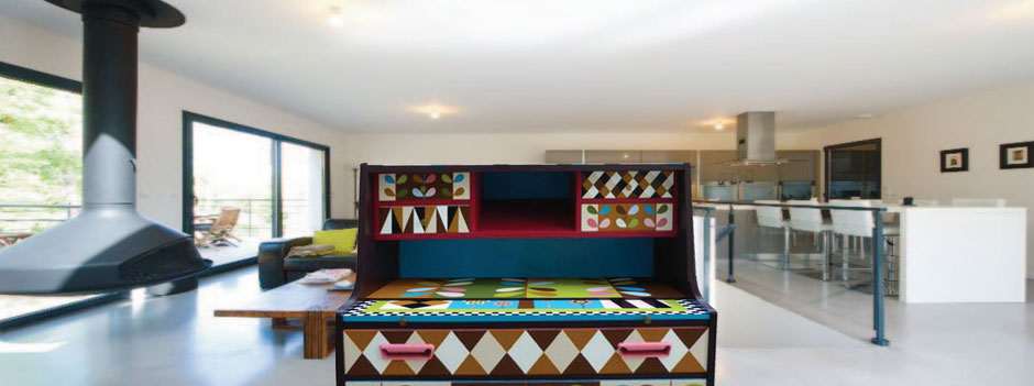 Buffet vintage scandinave peint par artiste