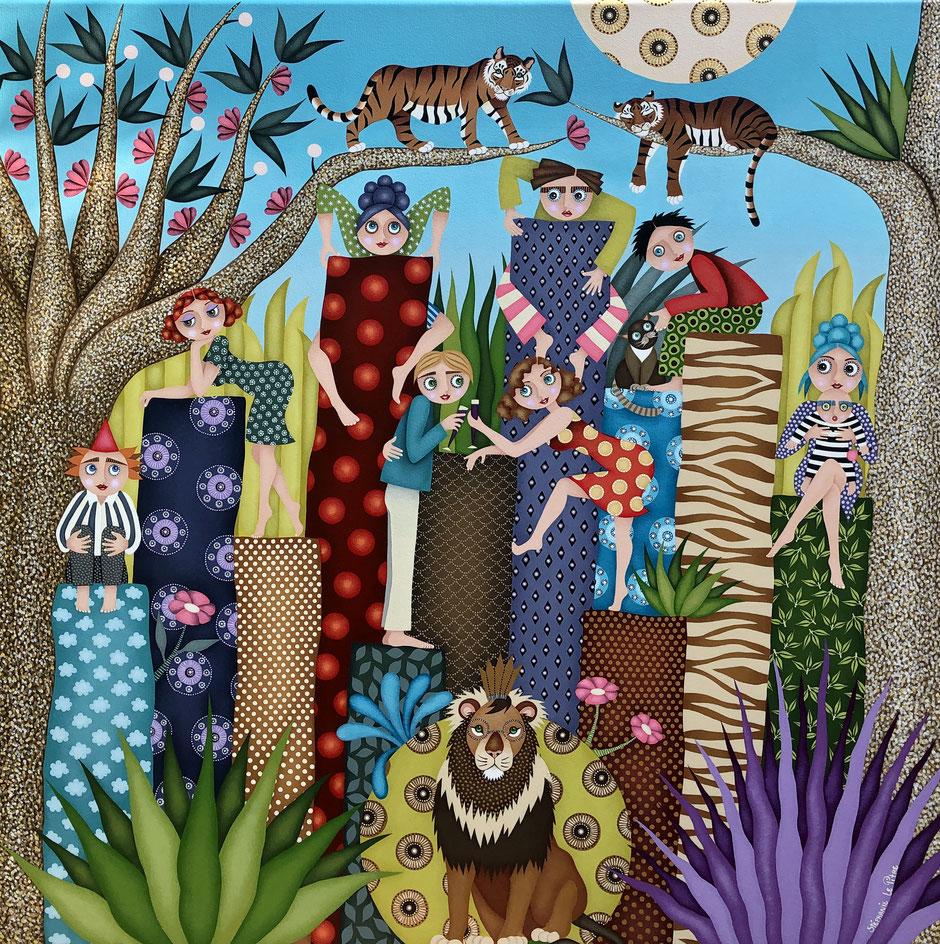Tableau naïf, jungle, artiste peintre Nantes