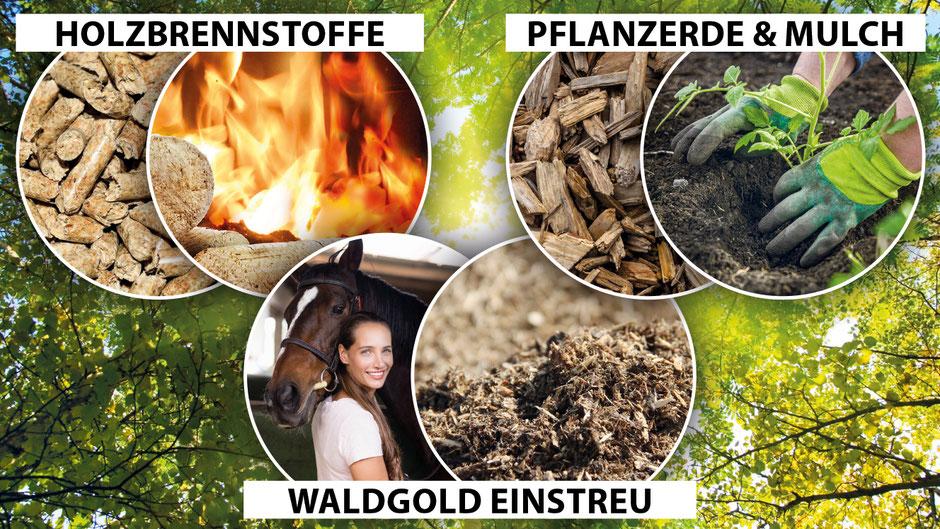 Produktgruppen Holzbrennstoffe - Pflanzerde und Mulch - Waldgold Einstreu - Waldboden Einstreu