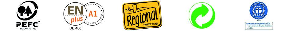 Qualitätslogos - GrünerPunkt - Umweltengel - PEFC - ENplus A1 - Regional