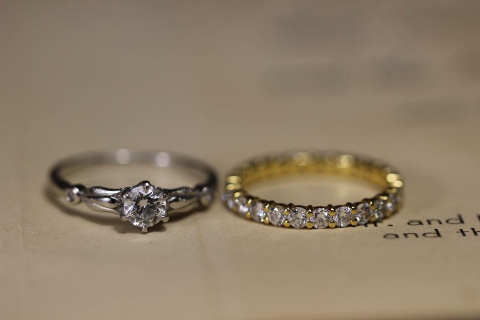 お手入れ前の指輪