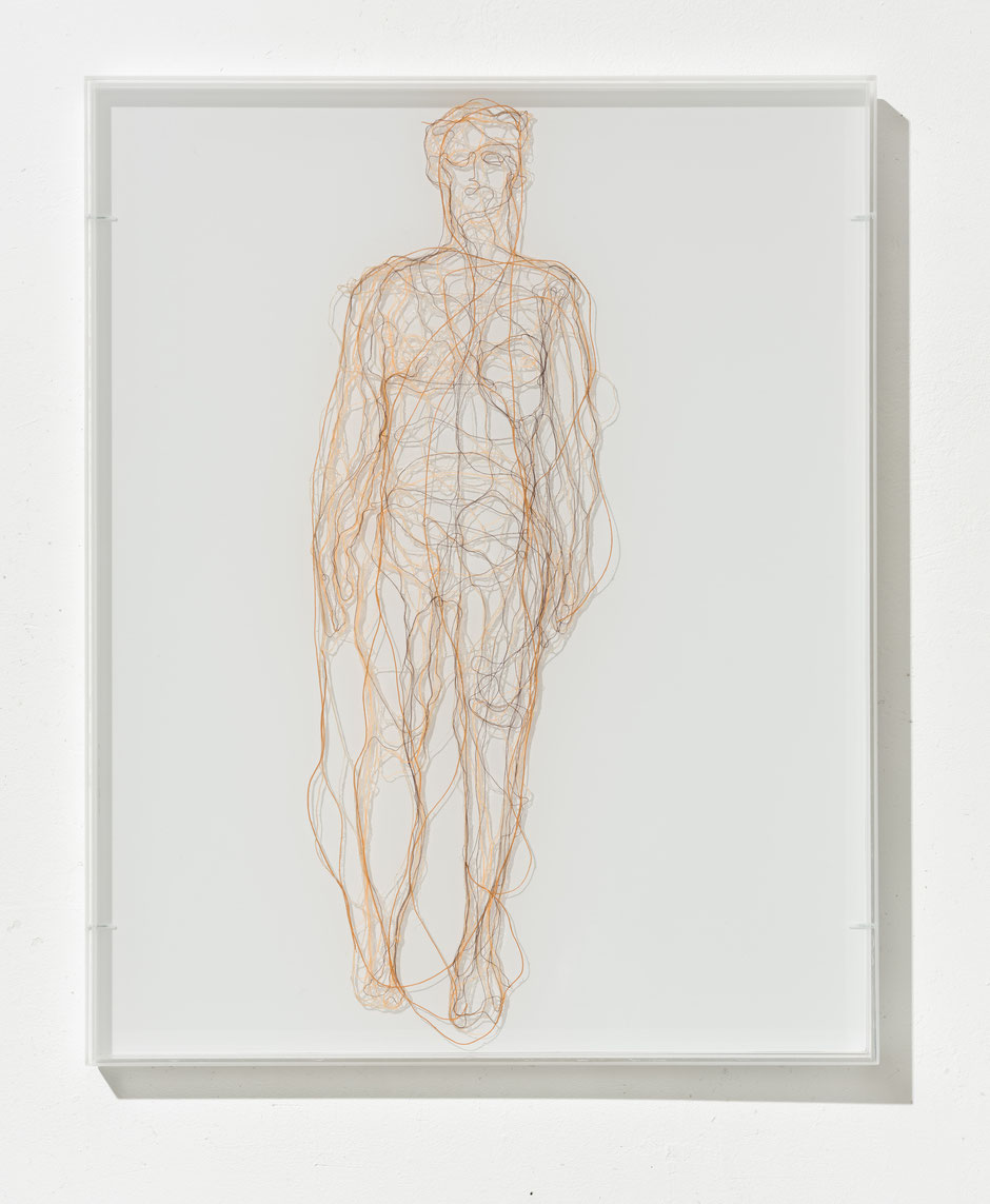 Antje Flotho: Me, myself, I, 2015, Garn auf Acrylglas, 50 x 40 cm