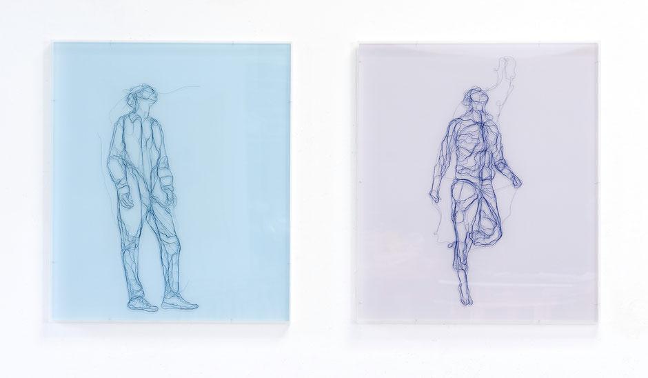 Antje Flotho: Doppel,  2017, Garn, Netz auf Acrylglas, je 70 x 60 cm