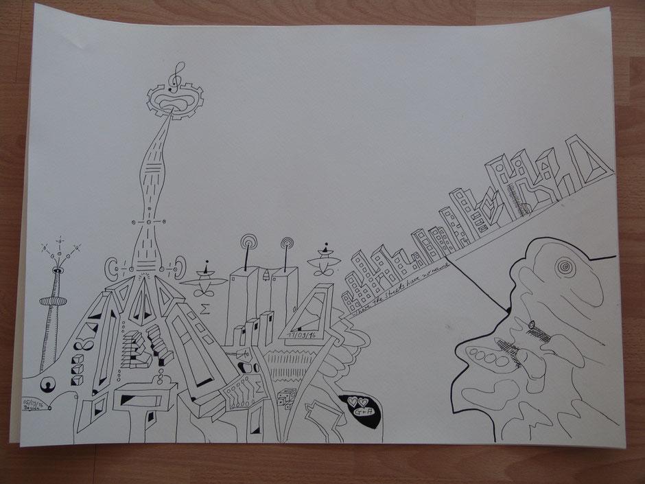 """""""Where the streets have no name"""" Zeichnung als Geschenk an Helene Beitler"""