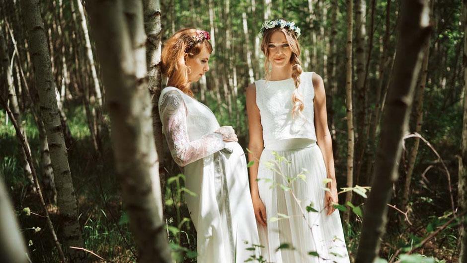 Umstandskleid mit Spitze für die schwangere Braut - Fotograf: Andreas-Joachim Lins , Hair & Make up: Julia Wendt