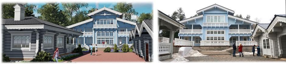дом из клееного бруса в стиле шале, дом шале, усадьба из клееного бруса