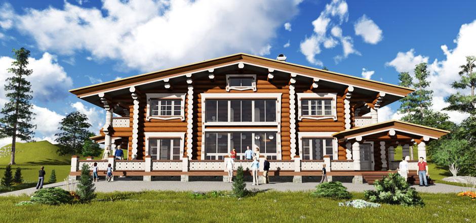 деревянный дом в стиле шале