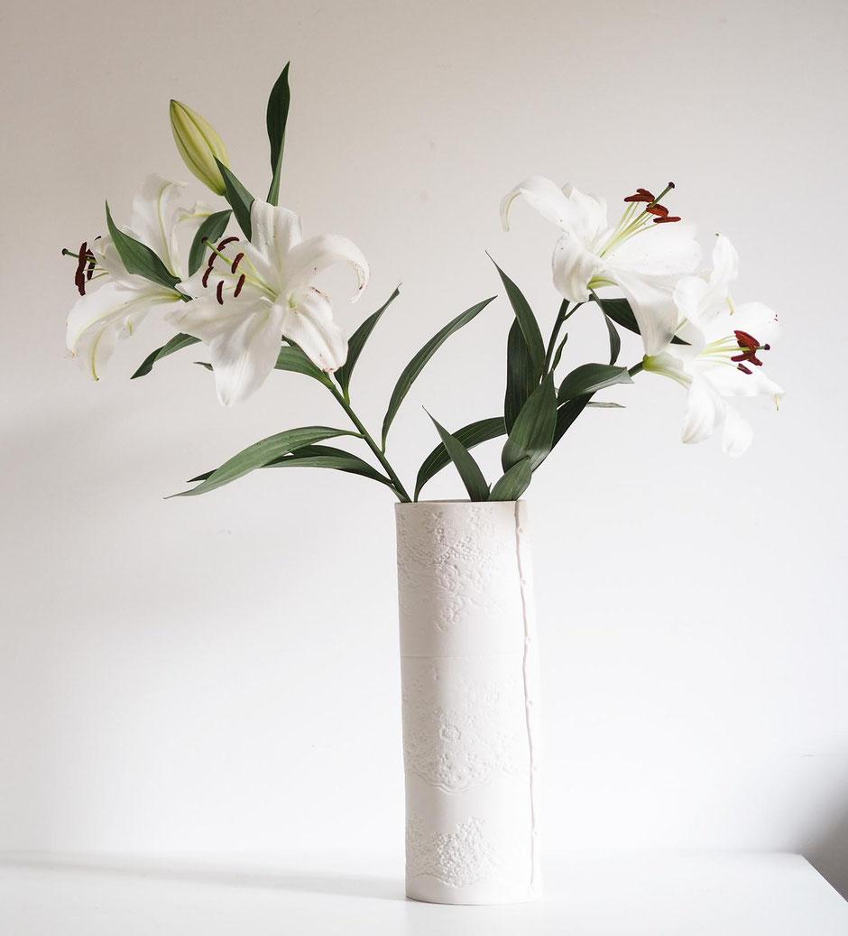 lily vase white porcelain