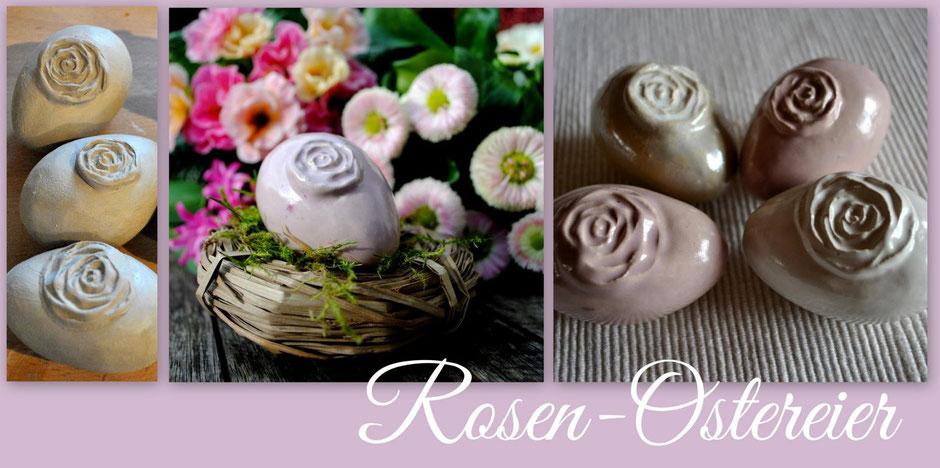 Ostereier mit Rosenmotiv Töpfern Anleitung