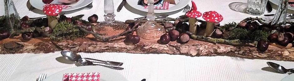 Gartenkeramik als Tischdeko Fliegenpilze