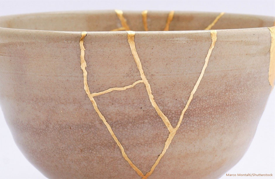Kintsugi Keramikreparatur mit Vergoldung