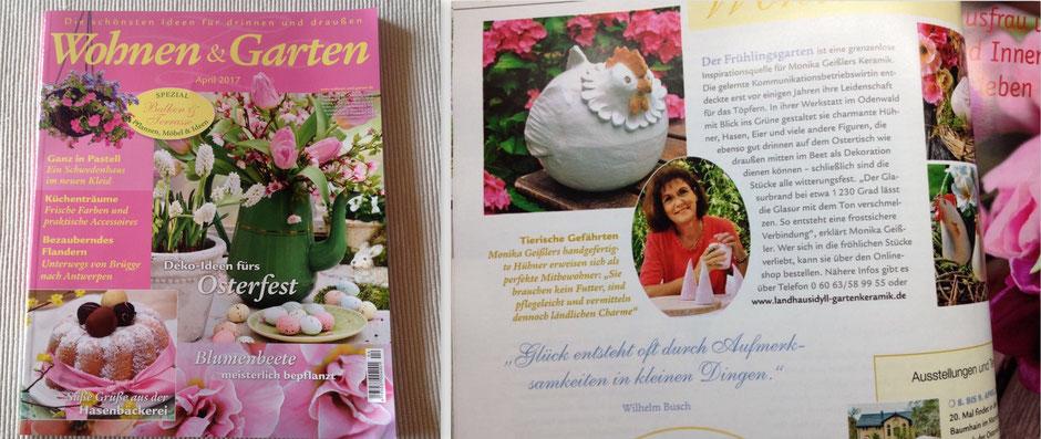 Presseveröffentlichung im Wohnen & Garten-Heft April 2017