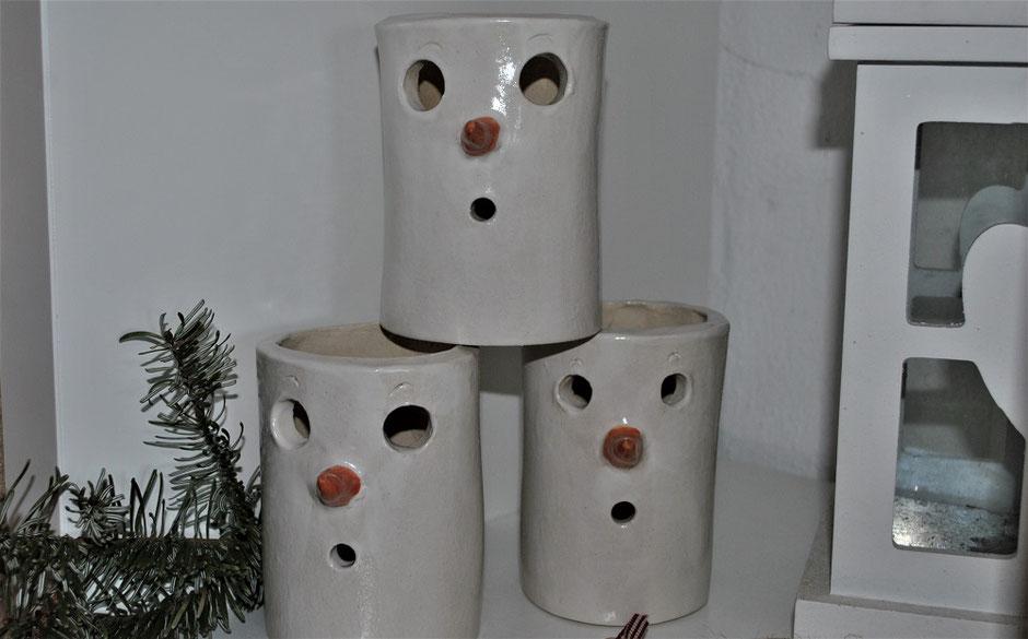 Schneemann Windlicht Keramik Handarbeit