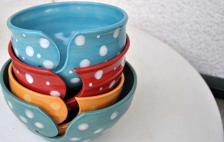 Garnschalen aus Keramik zum Stricken oder Häkeln