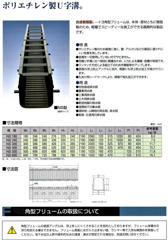 軽くて丈夫な、ポリエチレン製の角型U字溝を紹介する写真入りの説明資料です。