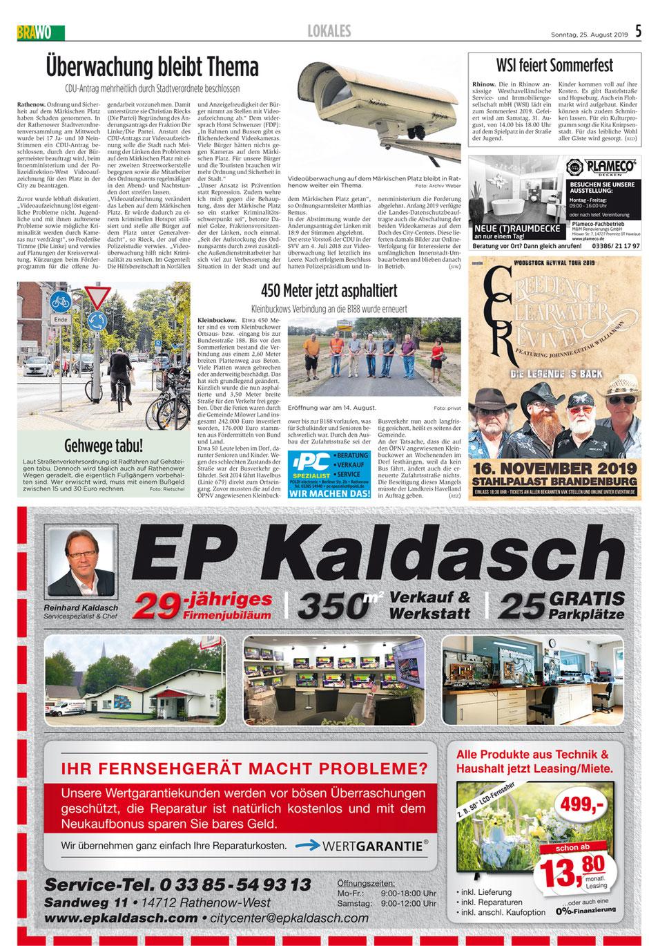 """Anzeige in der Zeitung """"Brawo"""" mit EP Kaldasch zum 29-jährigen Firmenjubiläum, z.B. 50 Zoll LCD-Fernseher ab 13,80 Euro Leasing."""