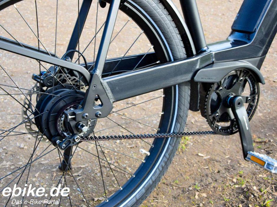 Riemenantrieb an einem e-Bike von Riese & Müller