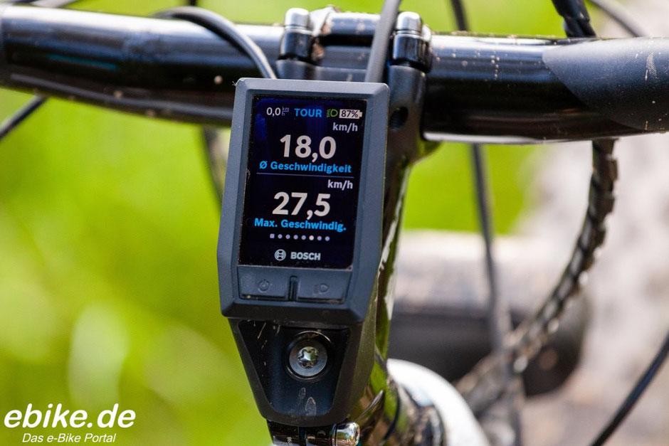 Bosch Kiox Display Durchschnittsgeschwindigkeit und Höchstgeschwindigkeit