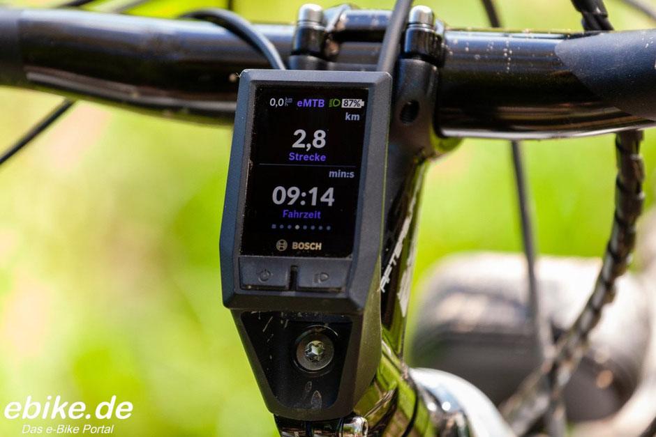 Bosch Kiox Display Strecke und Fahrzeit