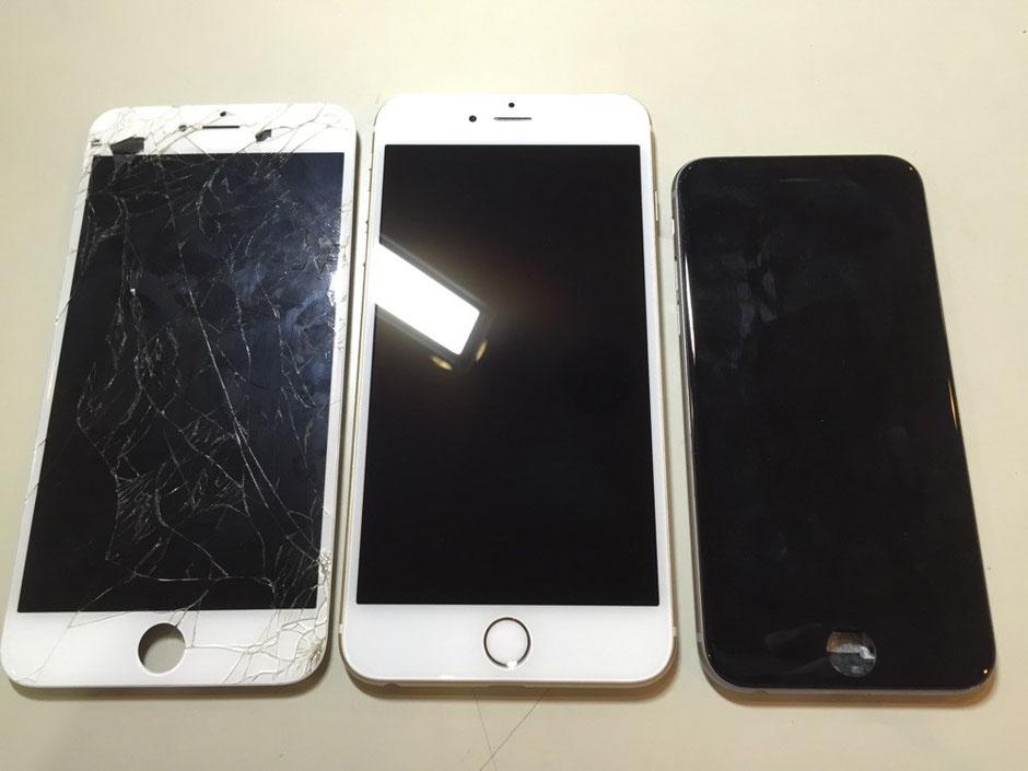 「iPhone 6 Plusなんですけど、修理出来ますか?」 もちろん出来ます!  iPhone 6 Plusに関しては在庫に限りがありますが、 基本的には即日修理が可能です!  iPhone6と比べると、 大きさが全然違いますね( ゚Д゚)