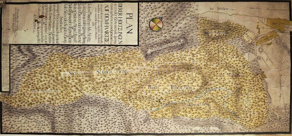 Karte des Langelschen Komturforstes bei Darlingerode, vom Komturhof von 1468 bis 1809 verwaltet