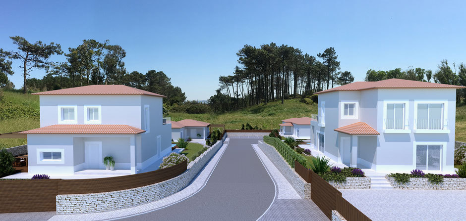 The private road is only accessible for the four properties, which ensures quiet and privacy.
