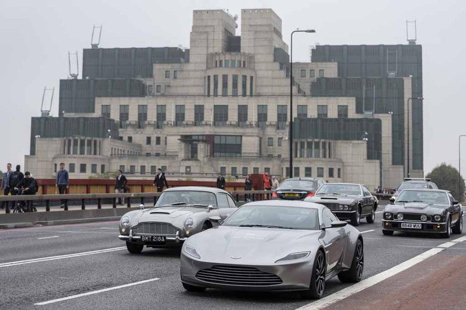 Aston Martin James Bond 007 Cars in front of MI-6 DB5 DBS V8 Vantage