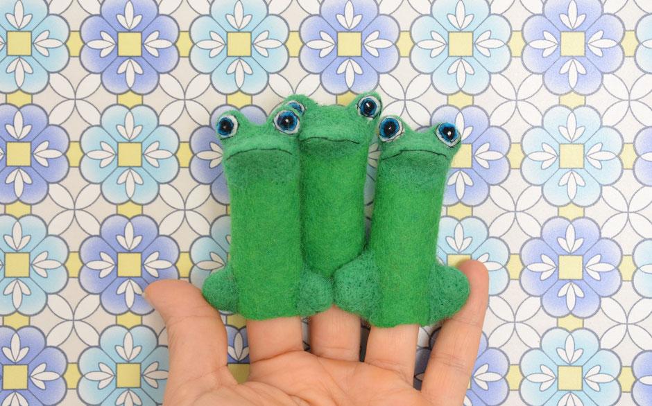 handgefilzte Fingerpuppen von Faserverbund, Frösche, 100% Wolle