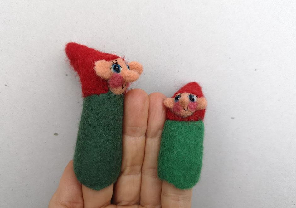 handgefilzte Fingerpuppen von Faserverbund, grüner Zwerg, 100% Wolle