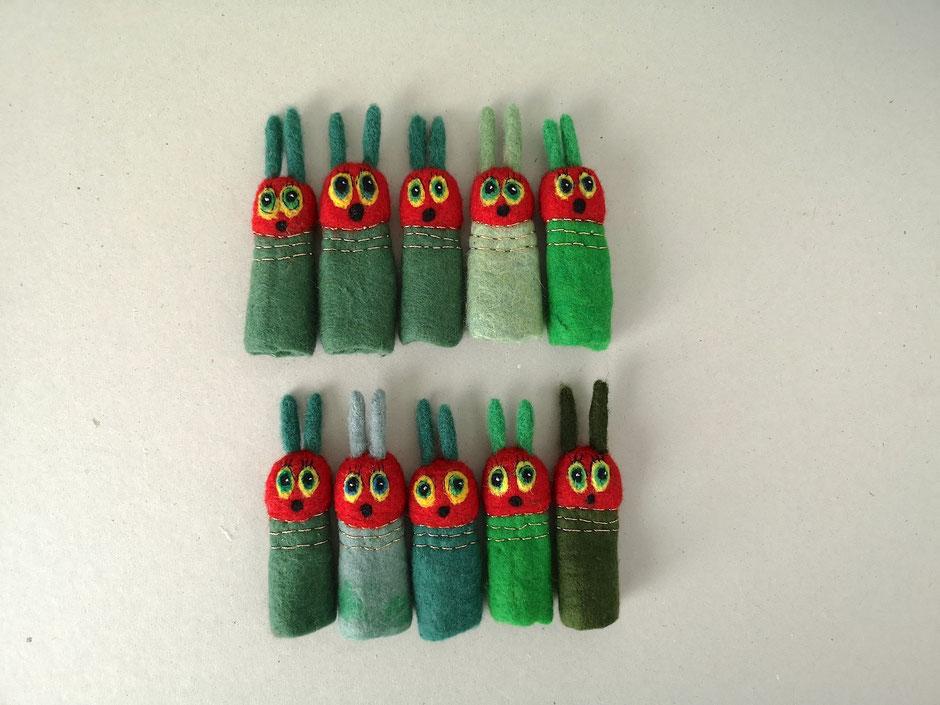 Fingerpuppe grüne Raupe, 100% Wolle, handgefilzt
