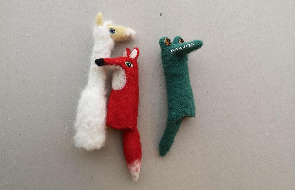 handgefilzte Fingerpuppen aus Wolle zum Theaterspielen und Geschichtenerfinden, Lama, Fuchs, Krokodil, von Faserverbund