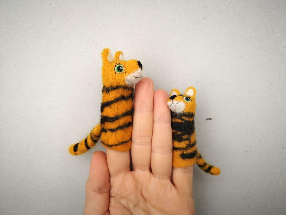 Fingerpuppe Baby Tiger und großer Tiger, 100% Wolle, handgefilzt, von Faserverbund