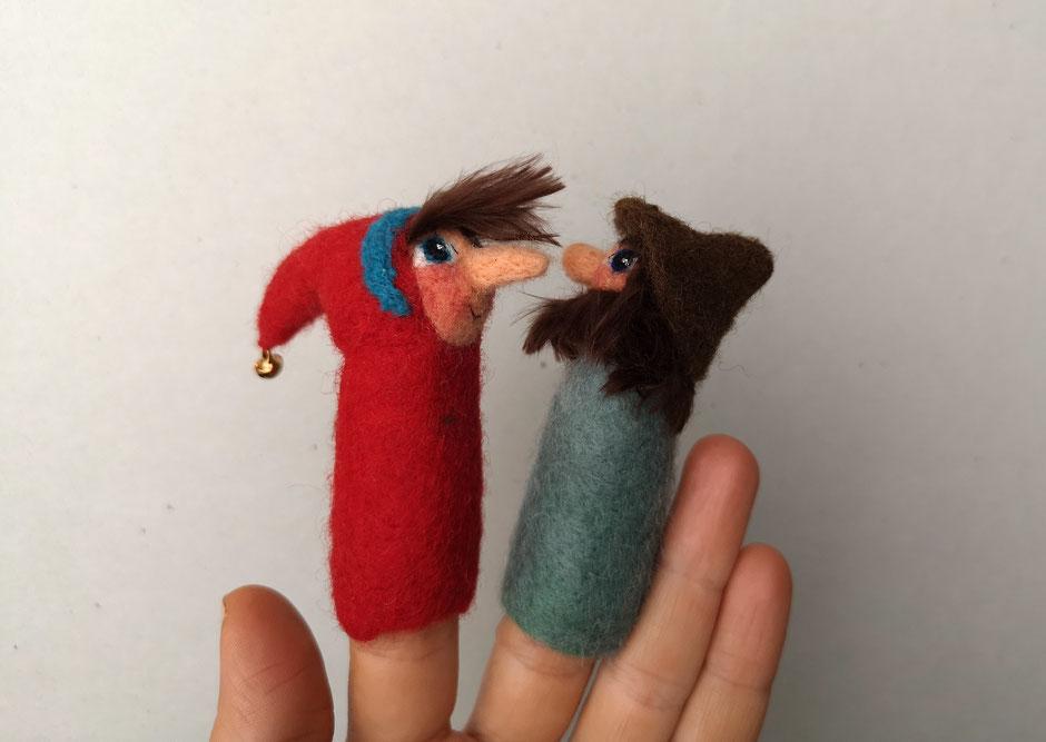 handgefilzte Fingerpuppe aus Wolle, von Faserverbund, Kasper und Räuber