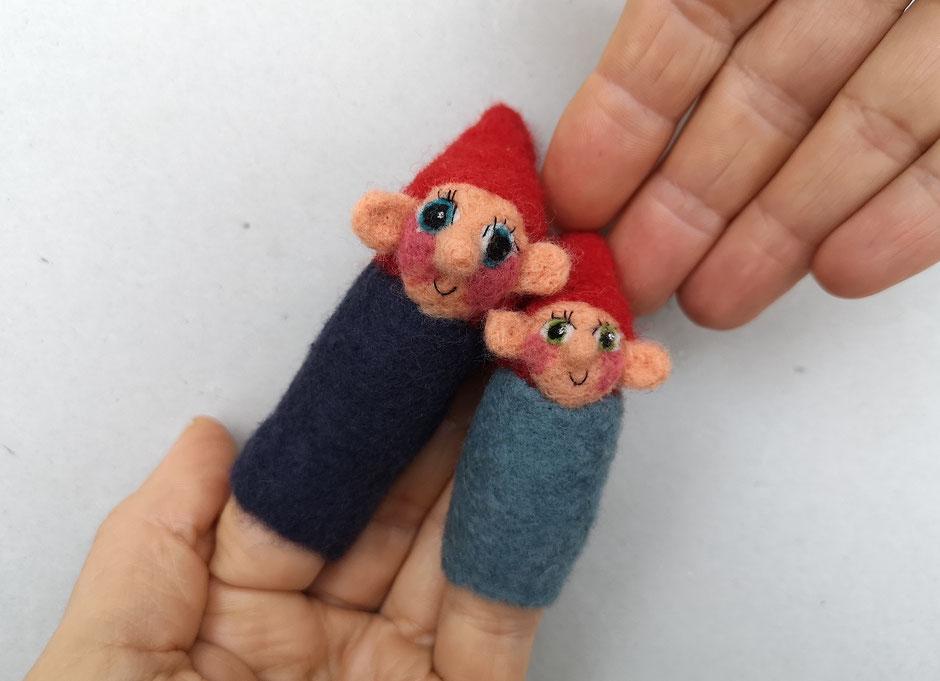 handgefilzte Fingerpuppen von Faserverbund, Zwerge, 100% Wolle